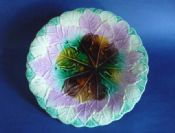 Stunning Majolica Overlapping Maple Leaf Plate c1880 #1